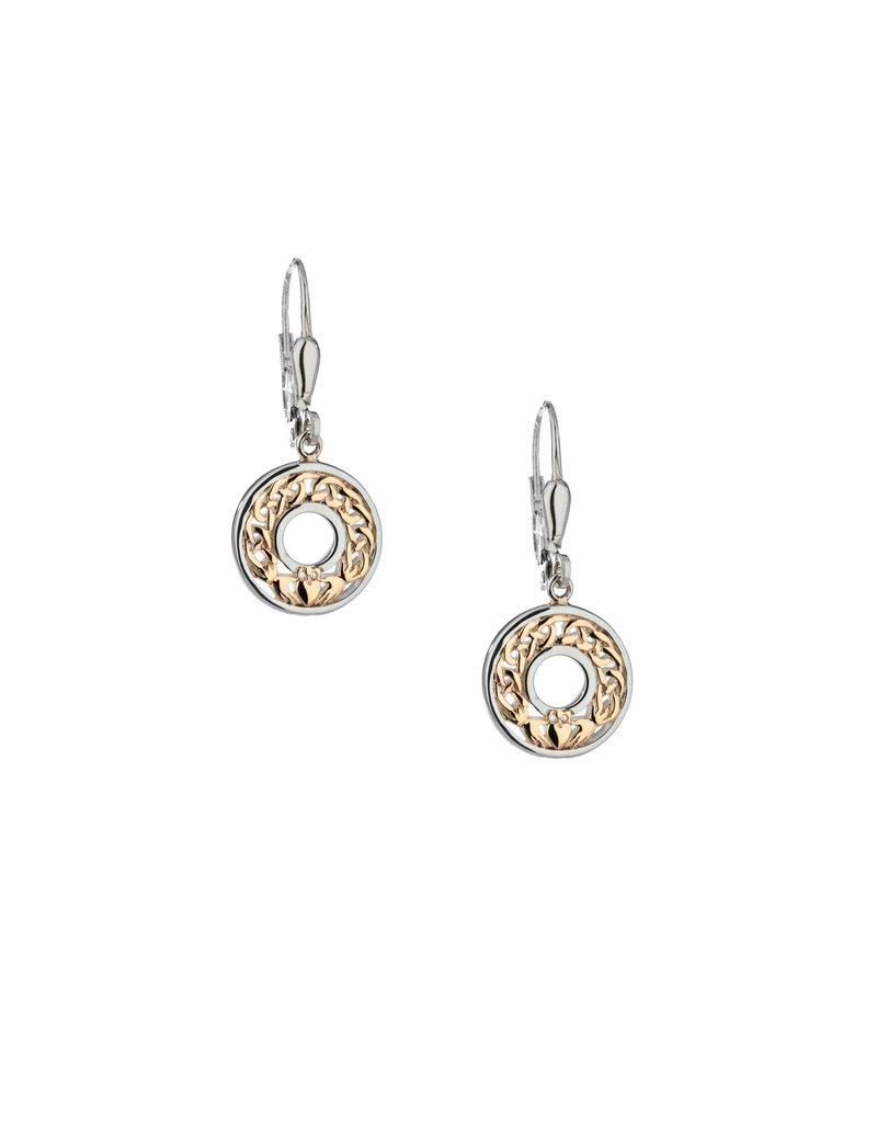 Keith Jack Claddagh Dangle Earrings SS/10KY