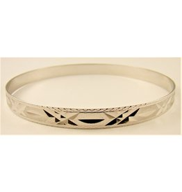 6mm Diamond Cut Flat Bangle