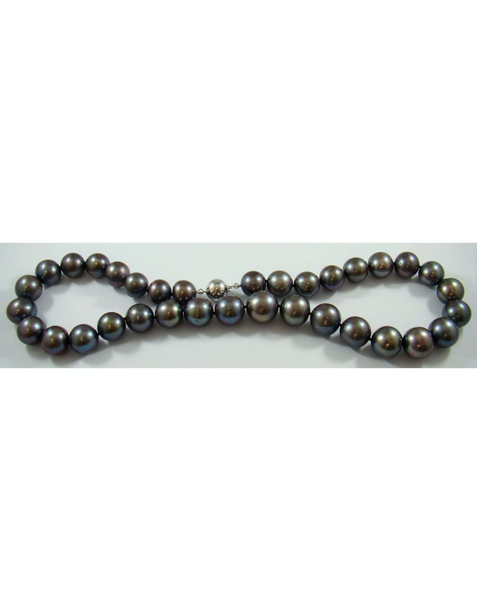 Gray Freshwater (12-15mm) Pearl Necklace 14KW