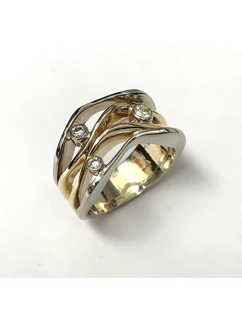 Fancy 3x Diamond Ring 14KWY