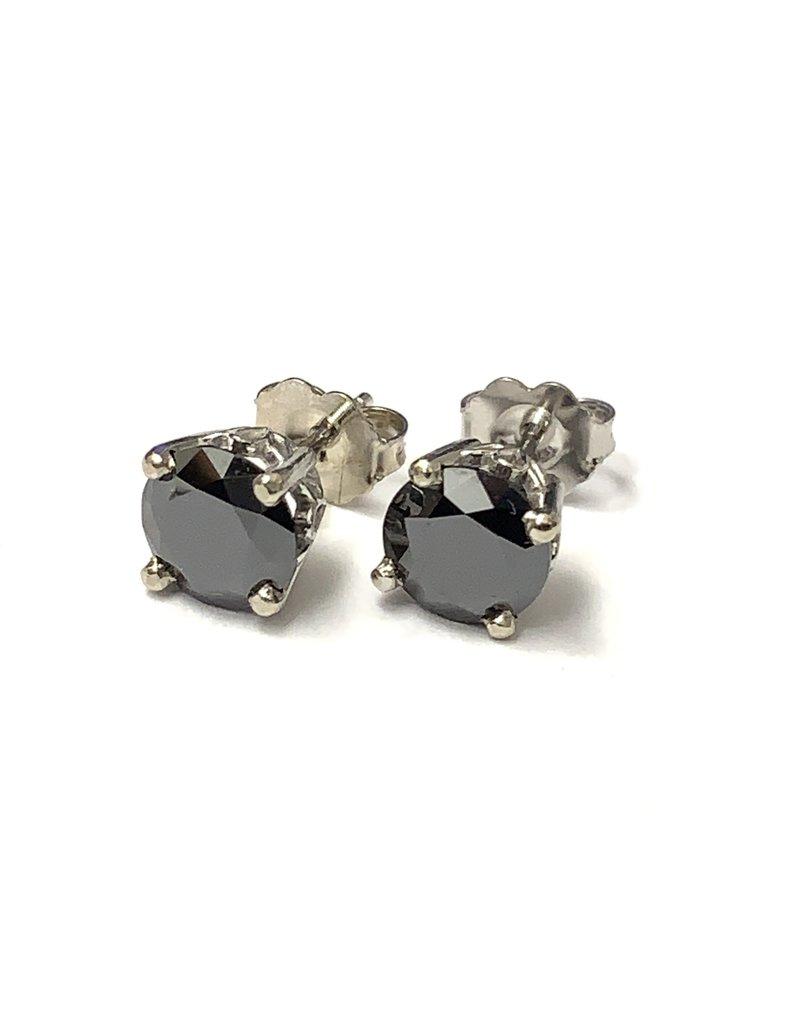 Black Moissanite Stud Earrings 14KW