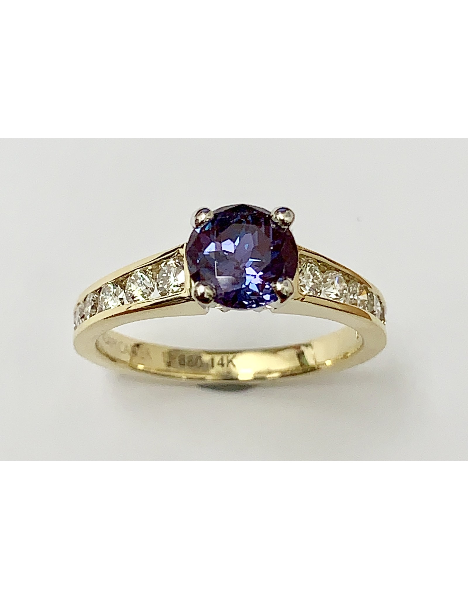 Noam Carver 1.26ct Lab Created Alexandrite & Diamond Ring 14KY