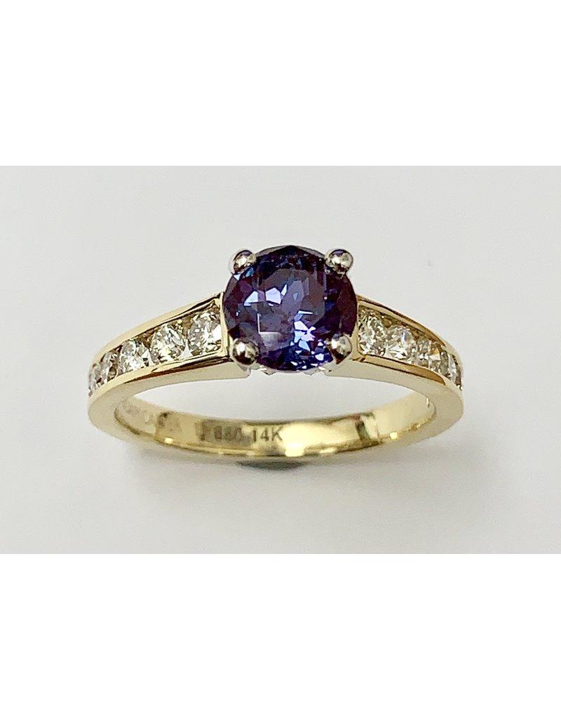 Noam Carver 1.26ct Lab Created Alexandrite & Diamond Ring 14KY