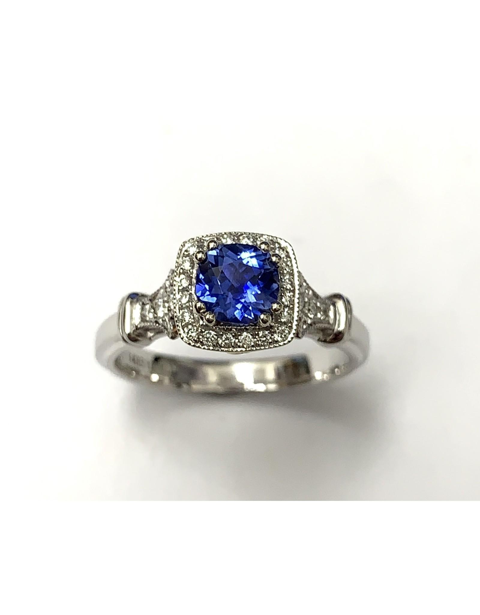Noam Carver Sapphire & Diamond Halo Ring 14KWR