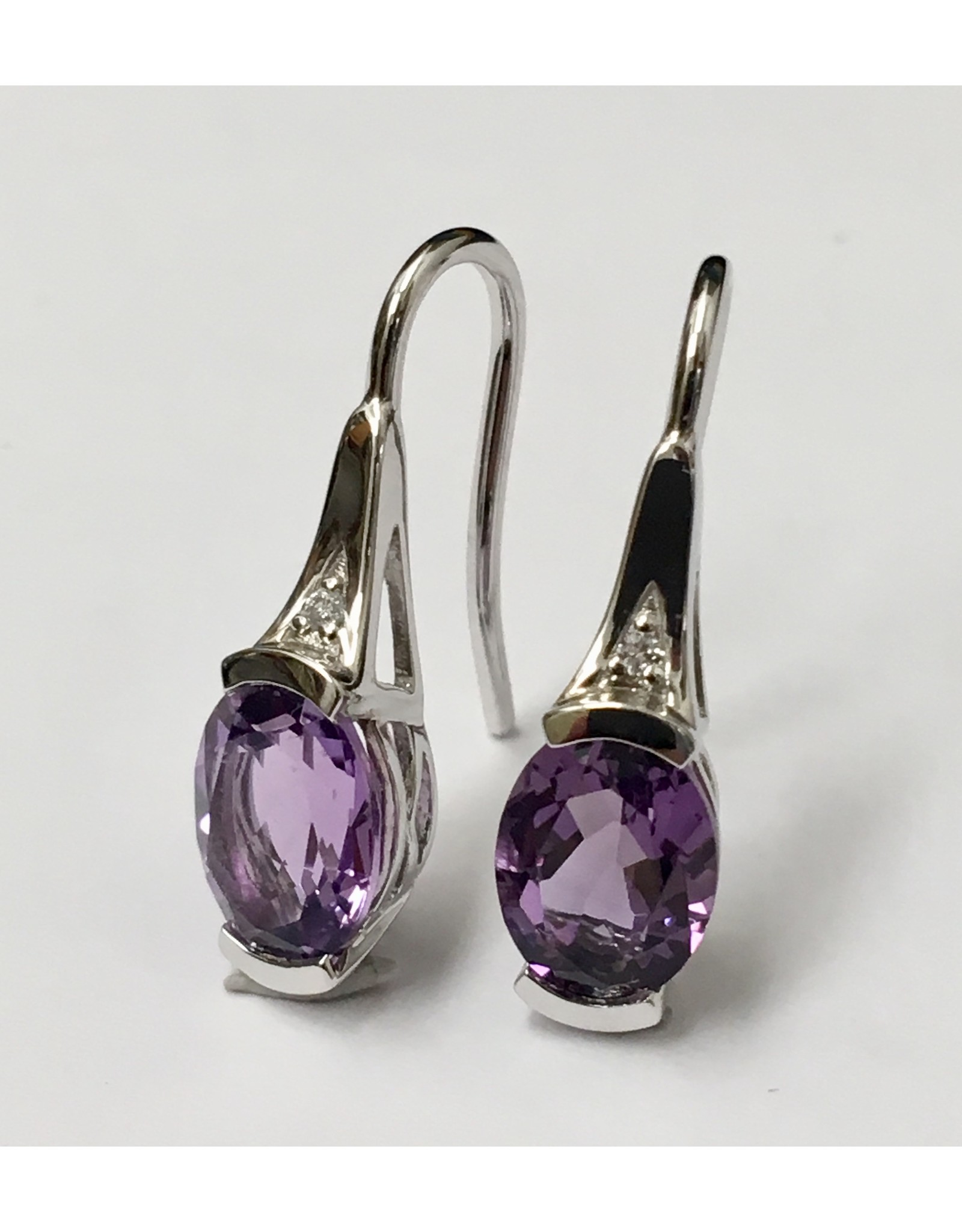 Amethyst & Diamond Earrings 10KW