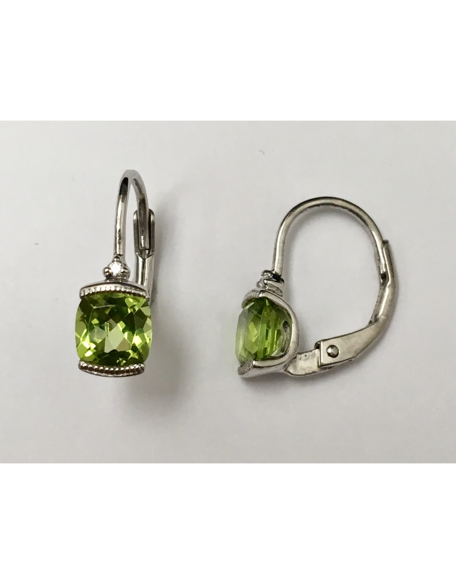 Peridot & Diamond Earrings 10KW