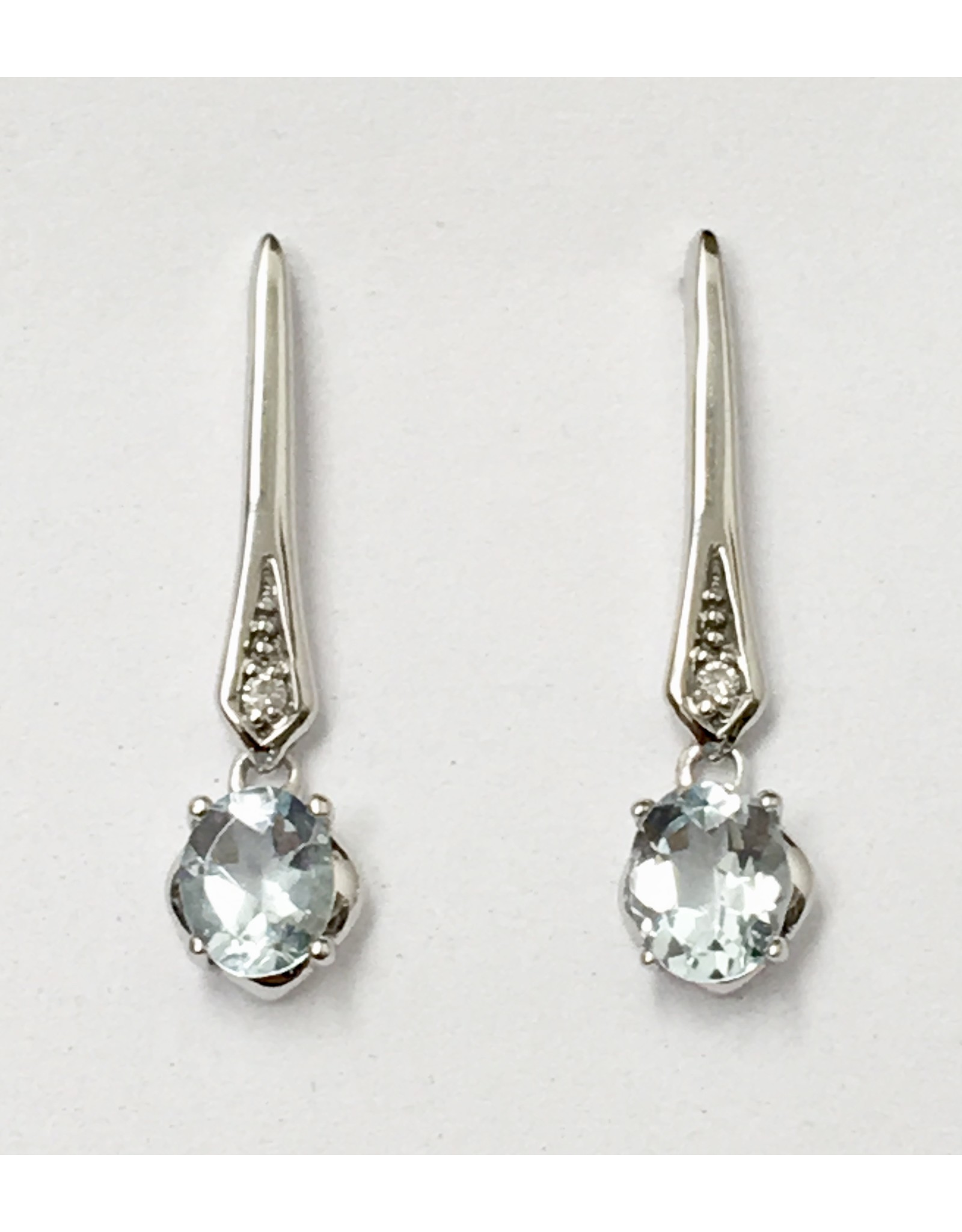 Aquamarine & Diamond Drop Earrings 10KW