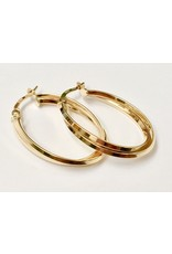 31mm Crossover Hoop Earrings 10KY