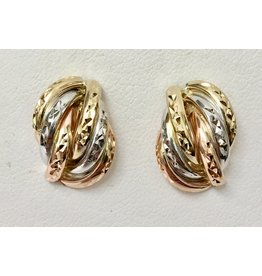 Tri-Tone Fancy Diamond Cut Earrings