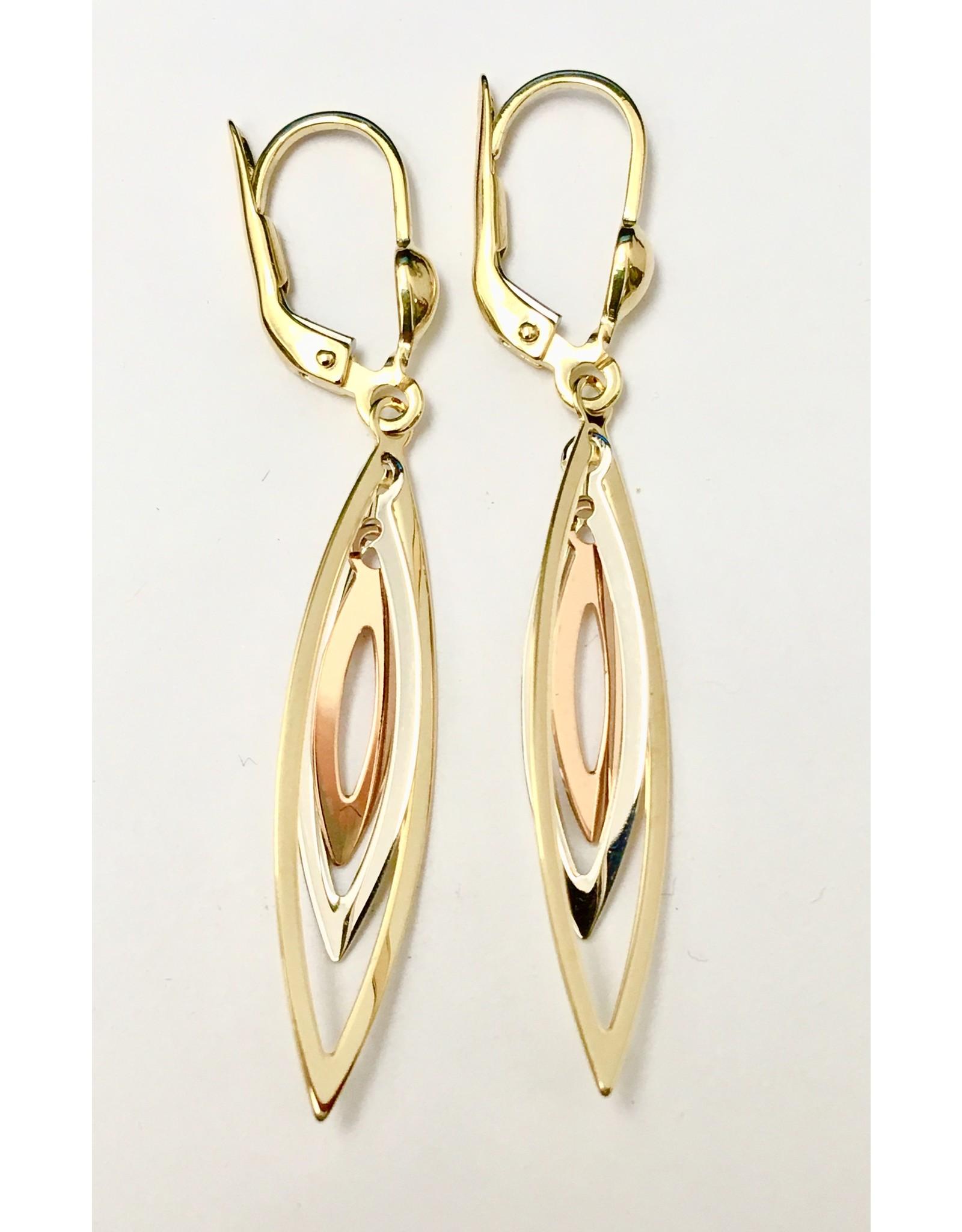 Tri-tone Fancy Dangle Earrings 10KWRY