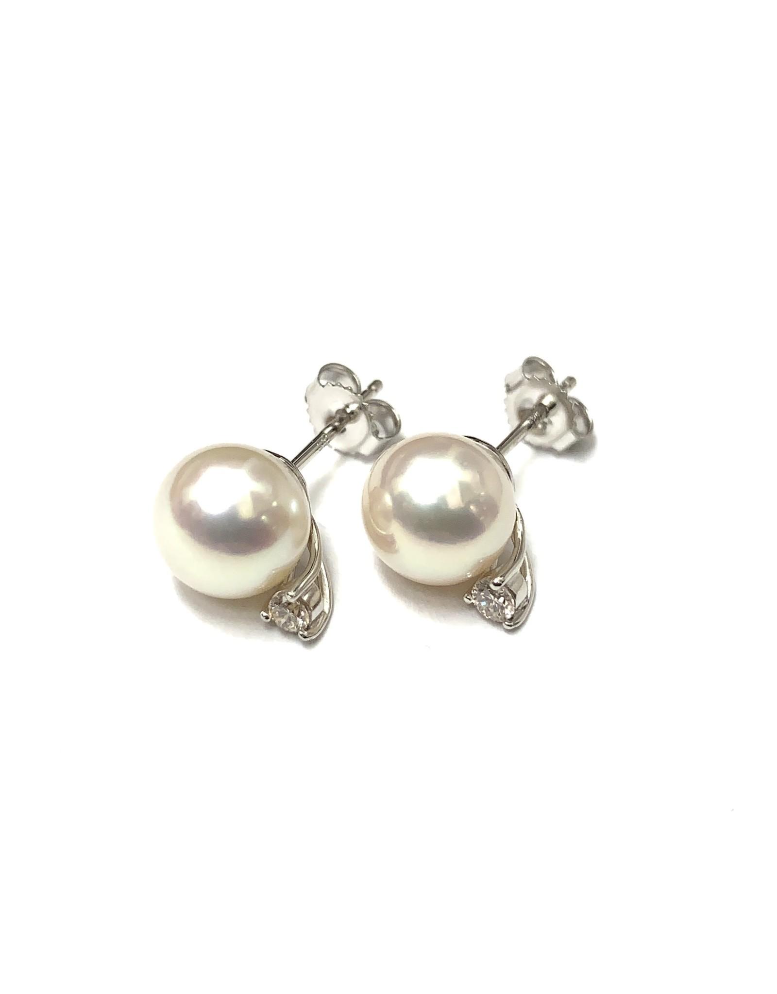 Freshwater Pearl & Diamond Stud Earrings 14KW