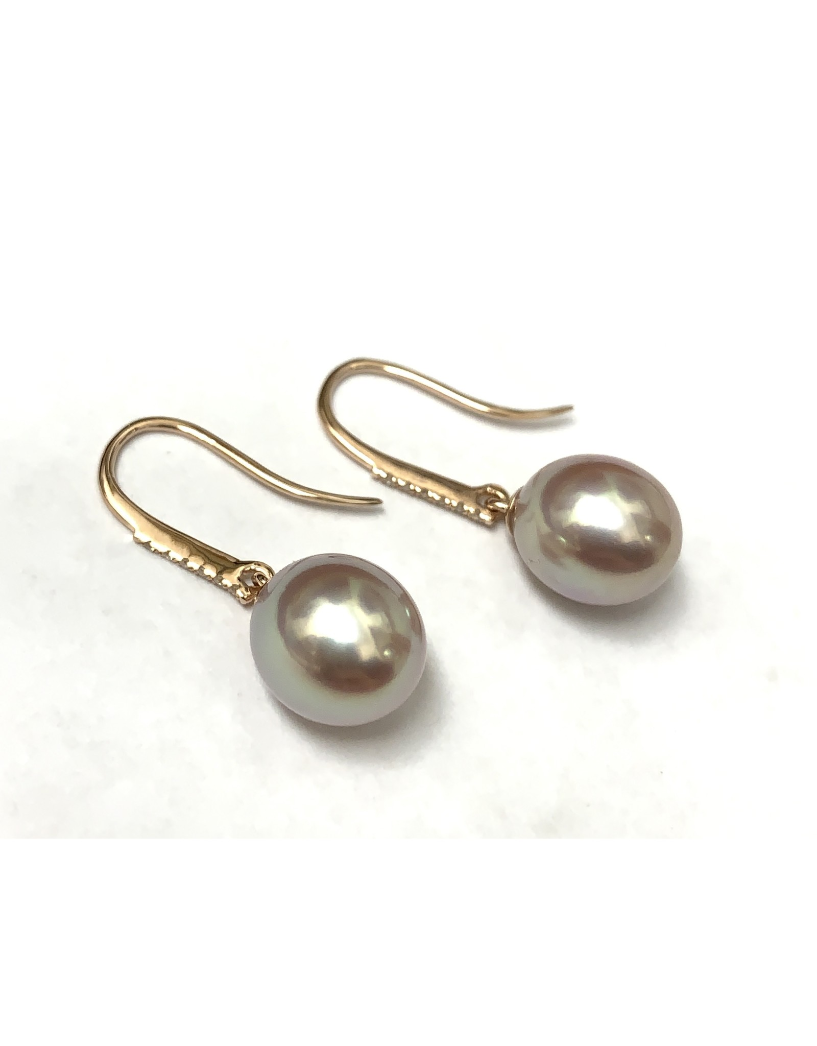 Freshwater Pearl & Diamond Drop Earrings 14KR
