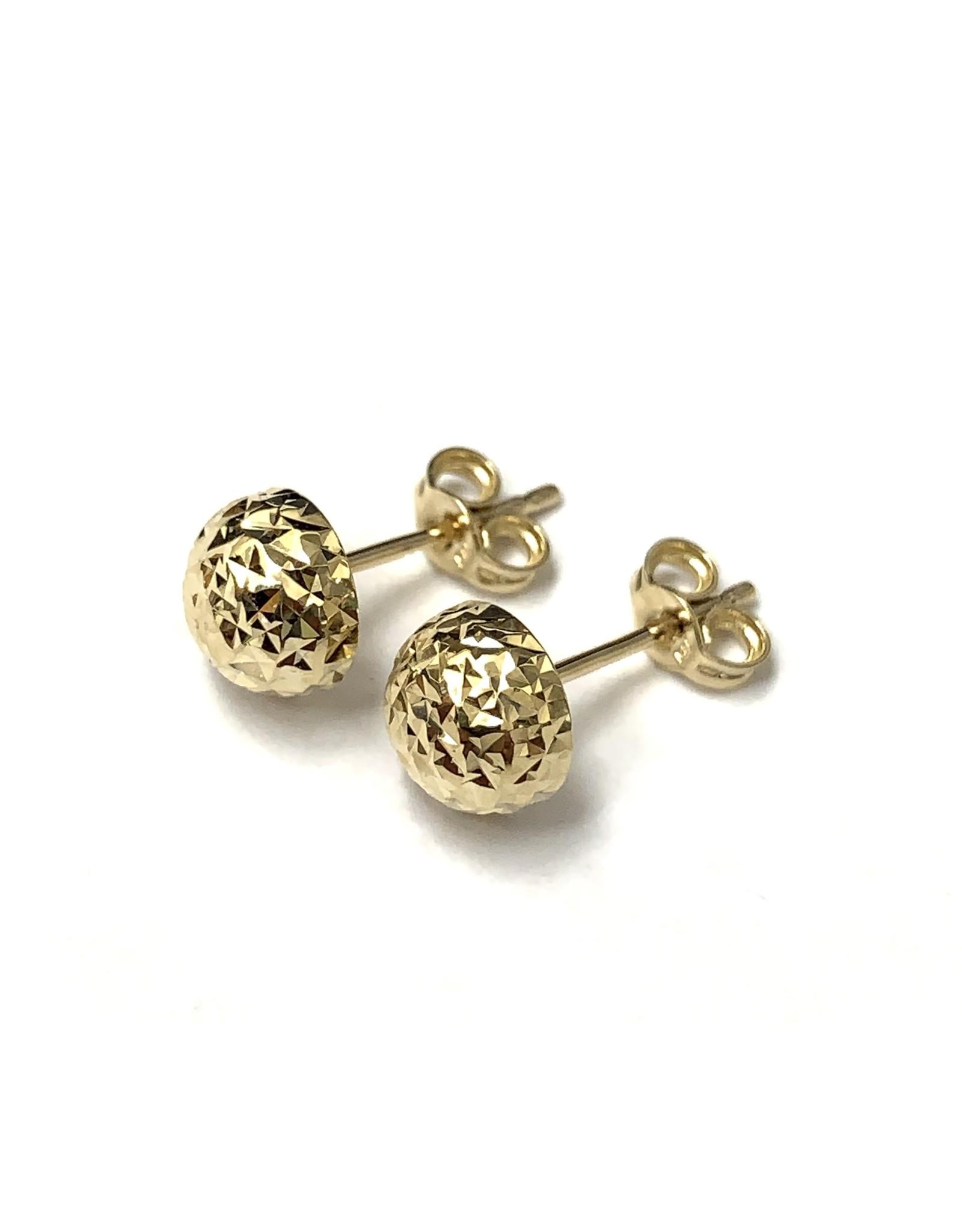 Half-Ball Stud Earrings 14KY