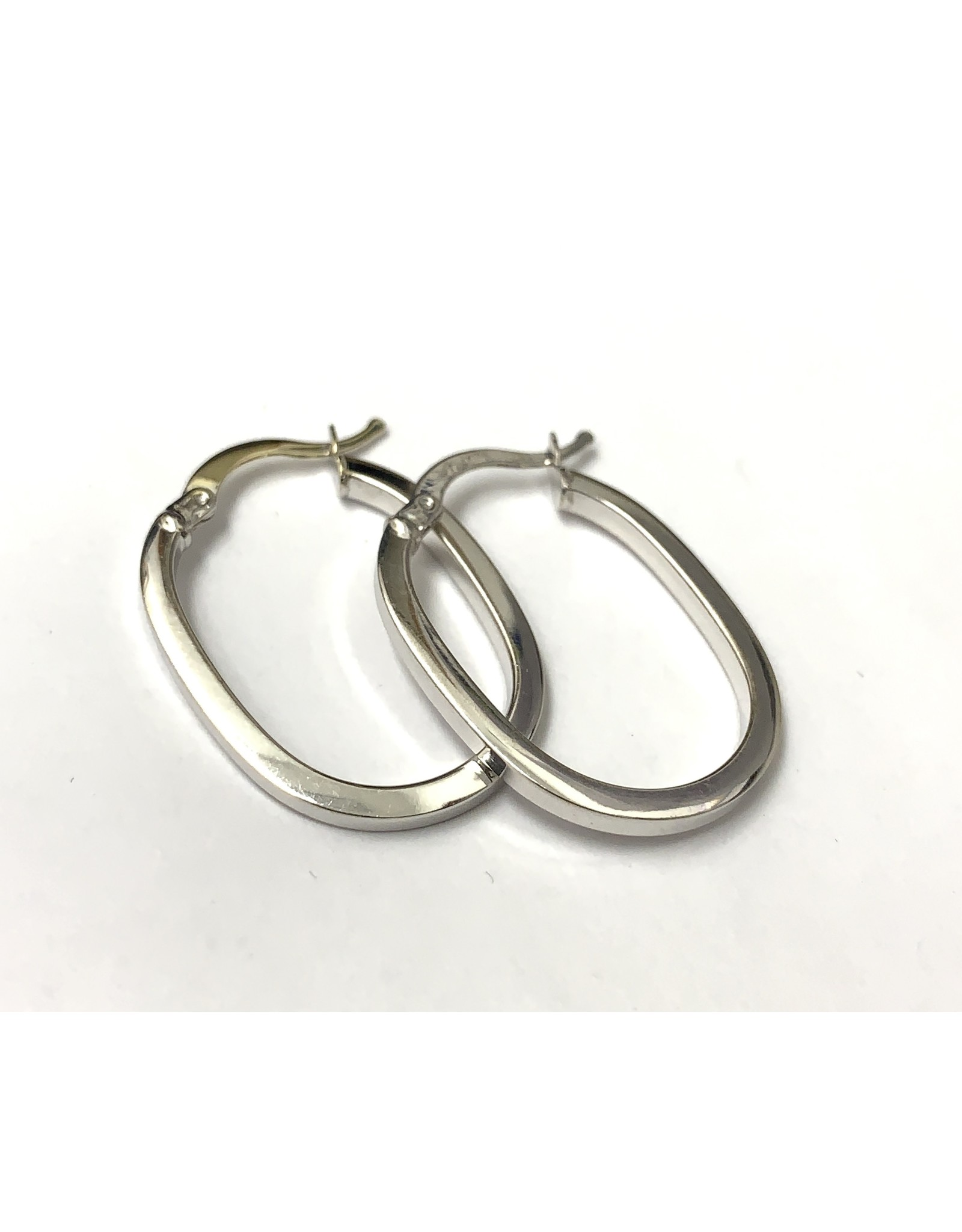 Oval Hoop Earrings 14KW