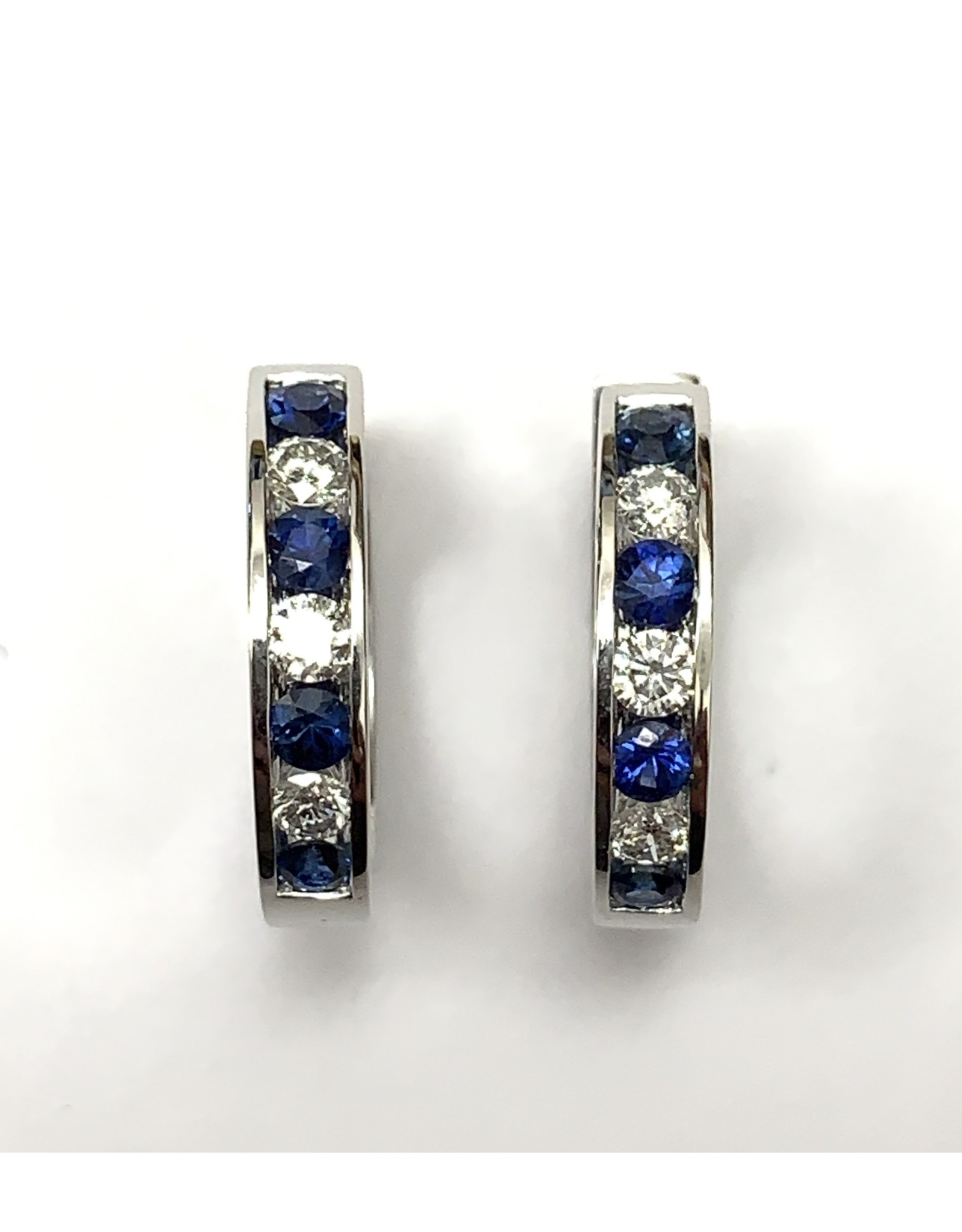 Sapphire & Diamond Hoop Earrings 14KW