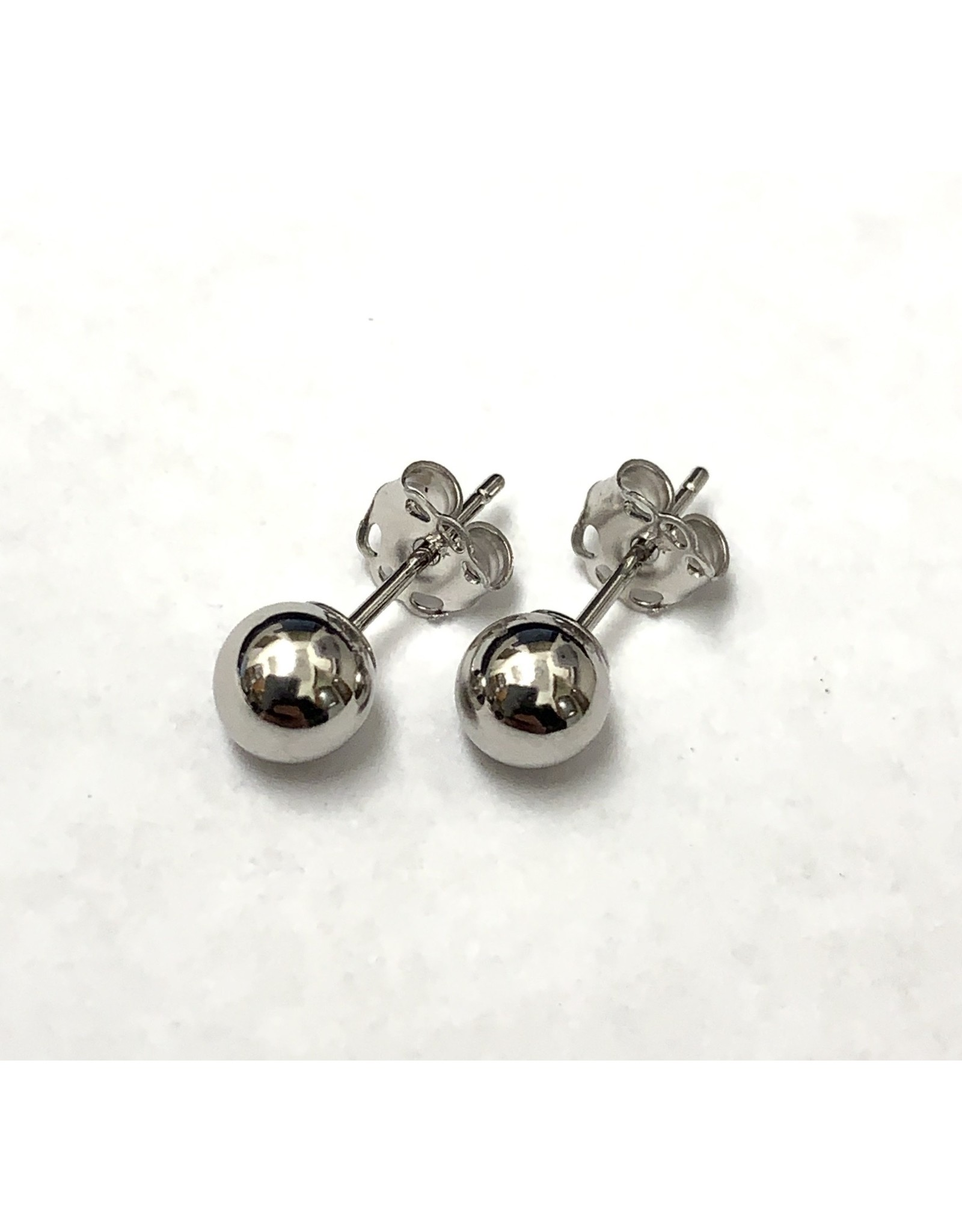 Ball Stud Earrings 14KW