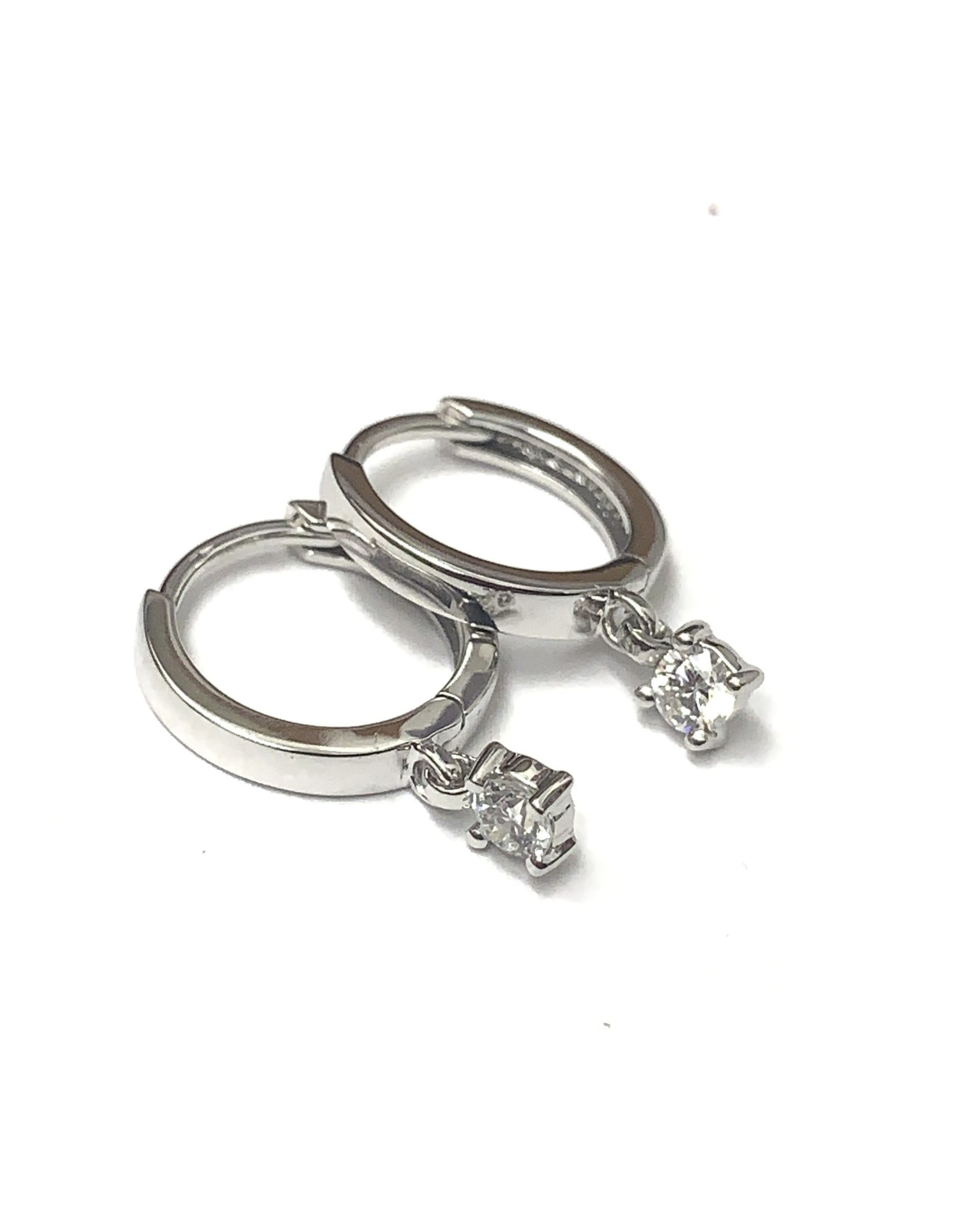 Single Diamond Dangle Hoop Earrings 10KW
