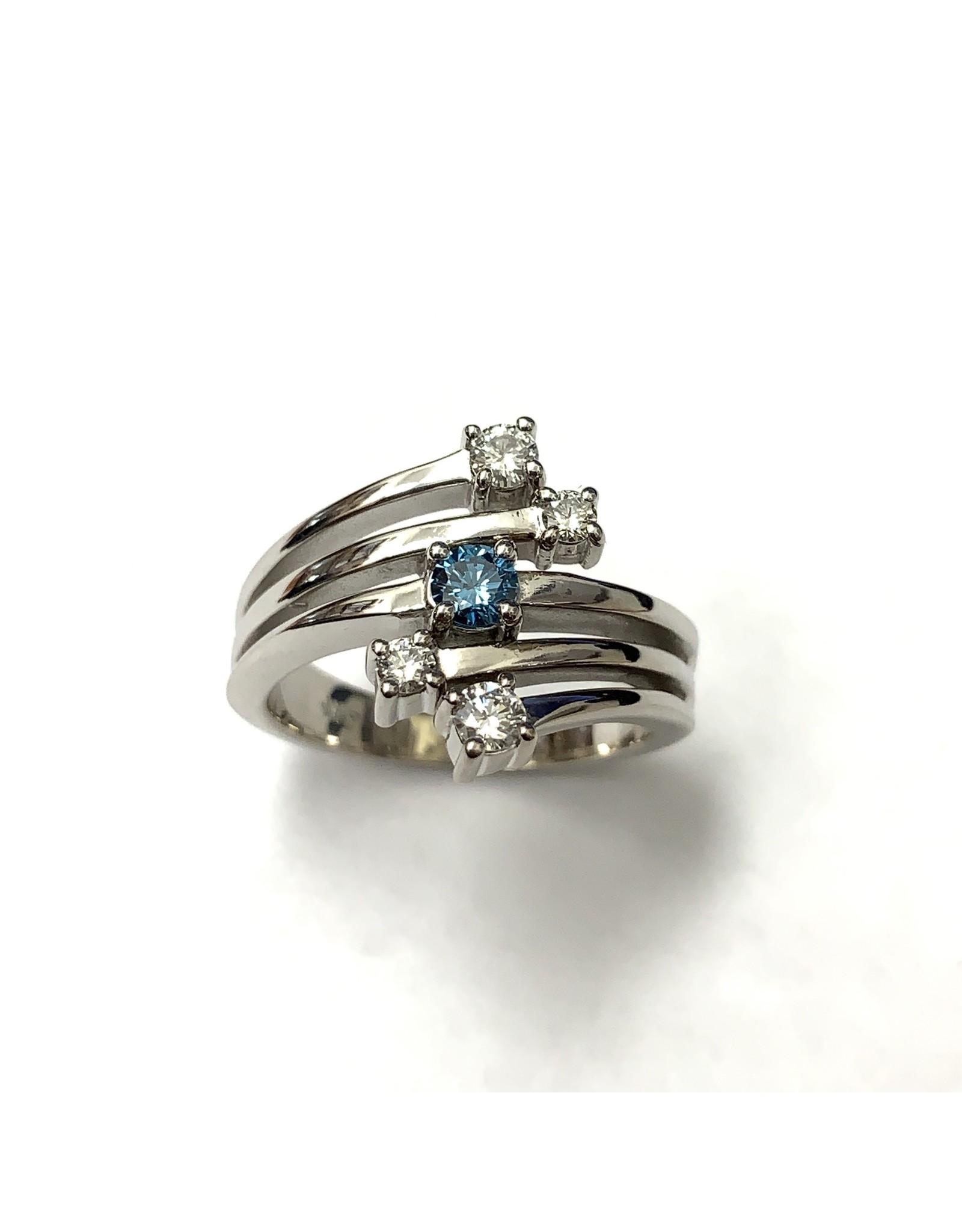 Blue & White Diamond Ring 14KW