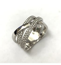 Double Crossover Pave Style Diamond Ring
