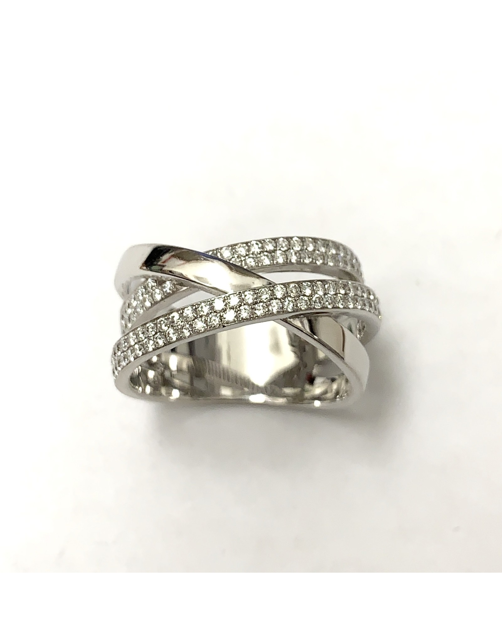 Double Crossover Pave Style Diamond Ring 14KW