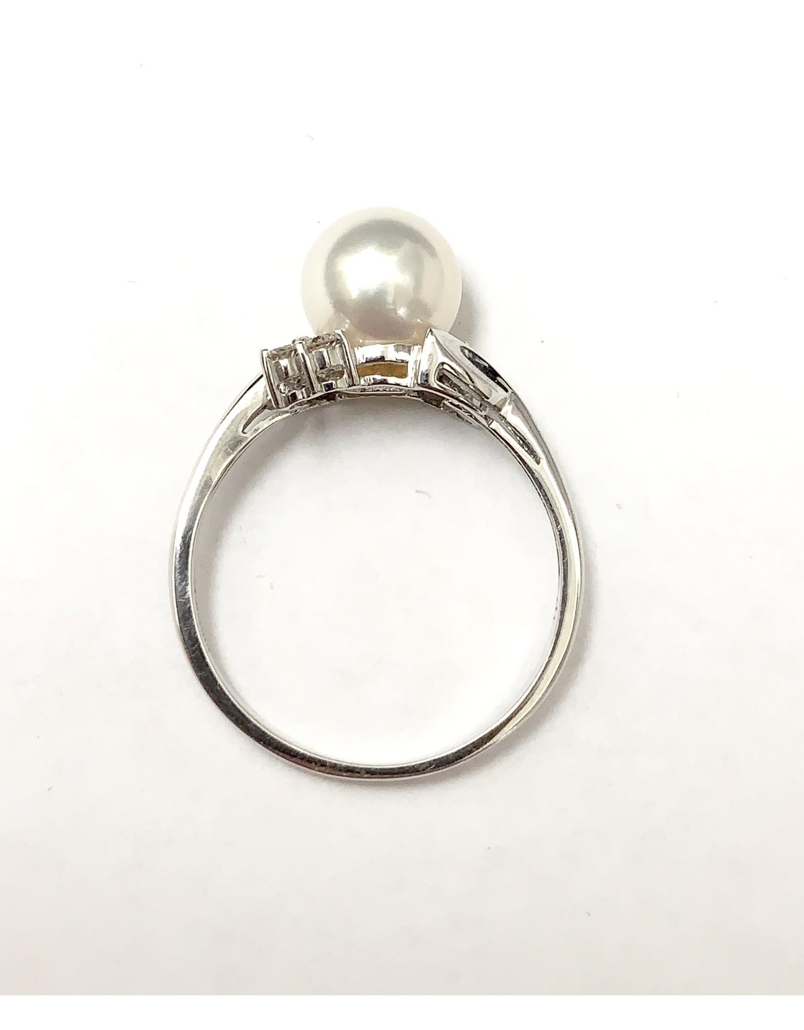 Akoya Pearl & Diamond Ring 14KW