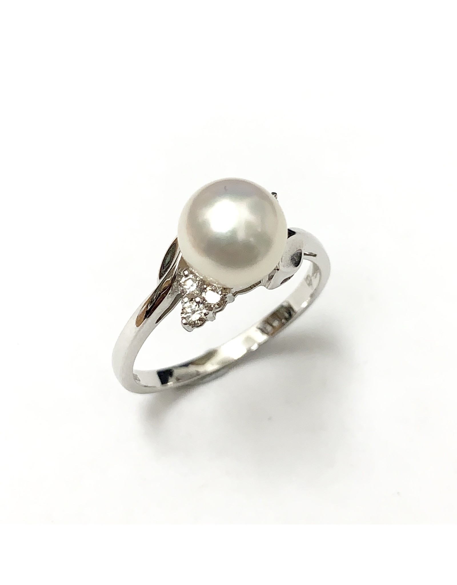 Akoya Pearl & Diamond Ring 14KW