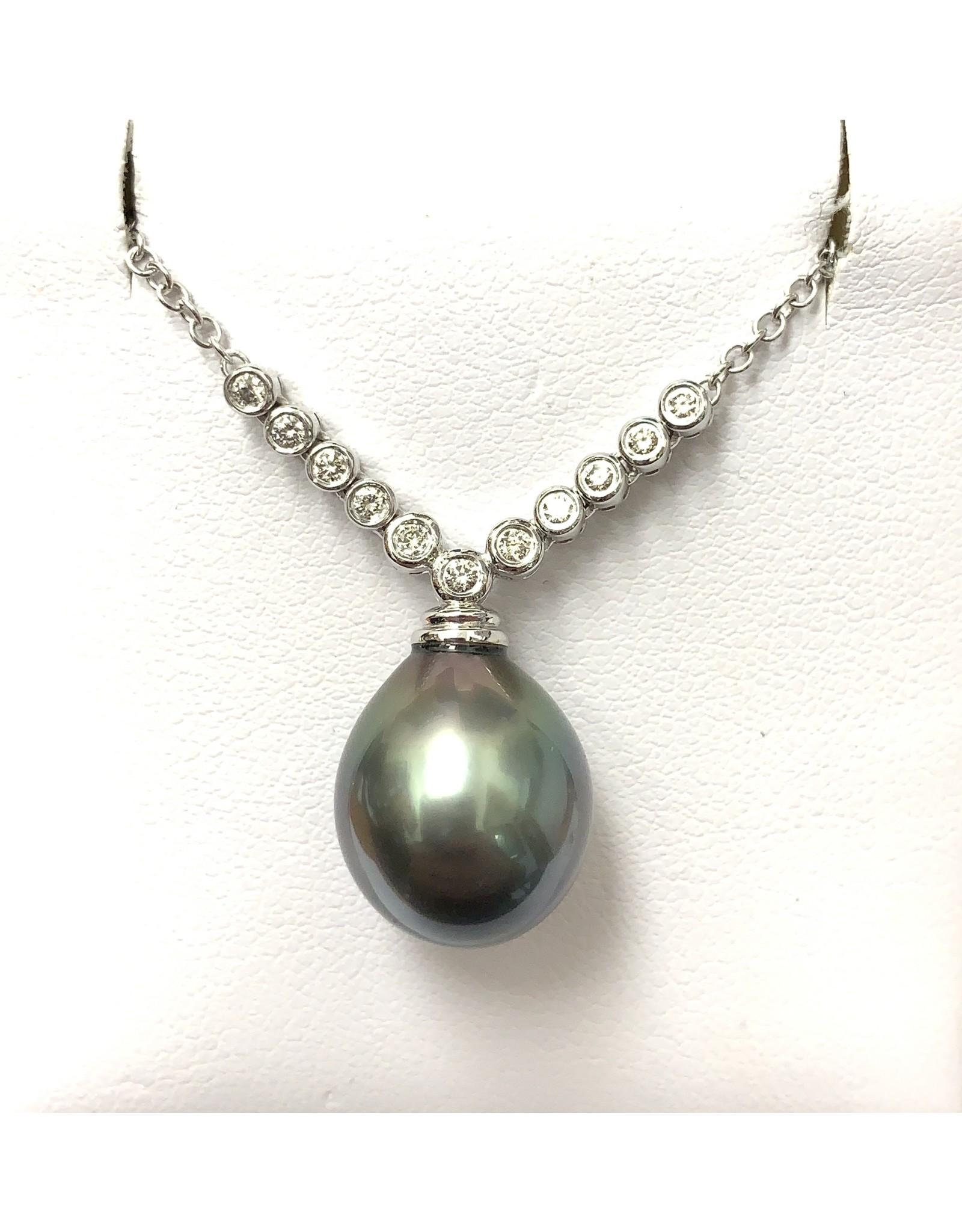 Tahitian Pearl & Diamond Neckpiece 14KW