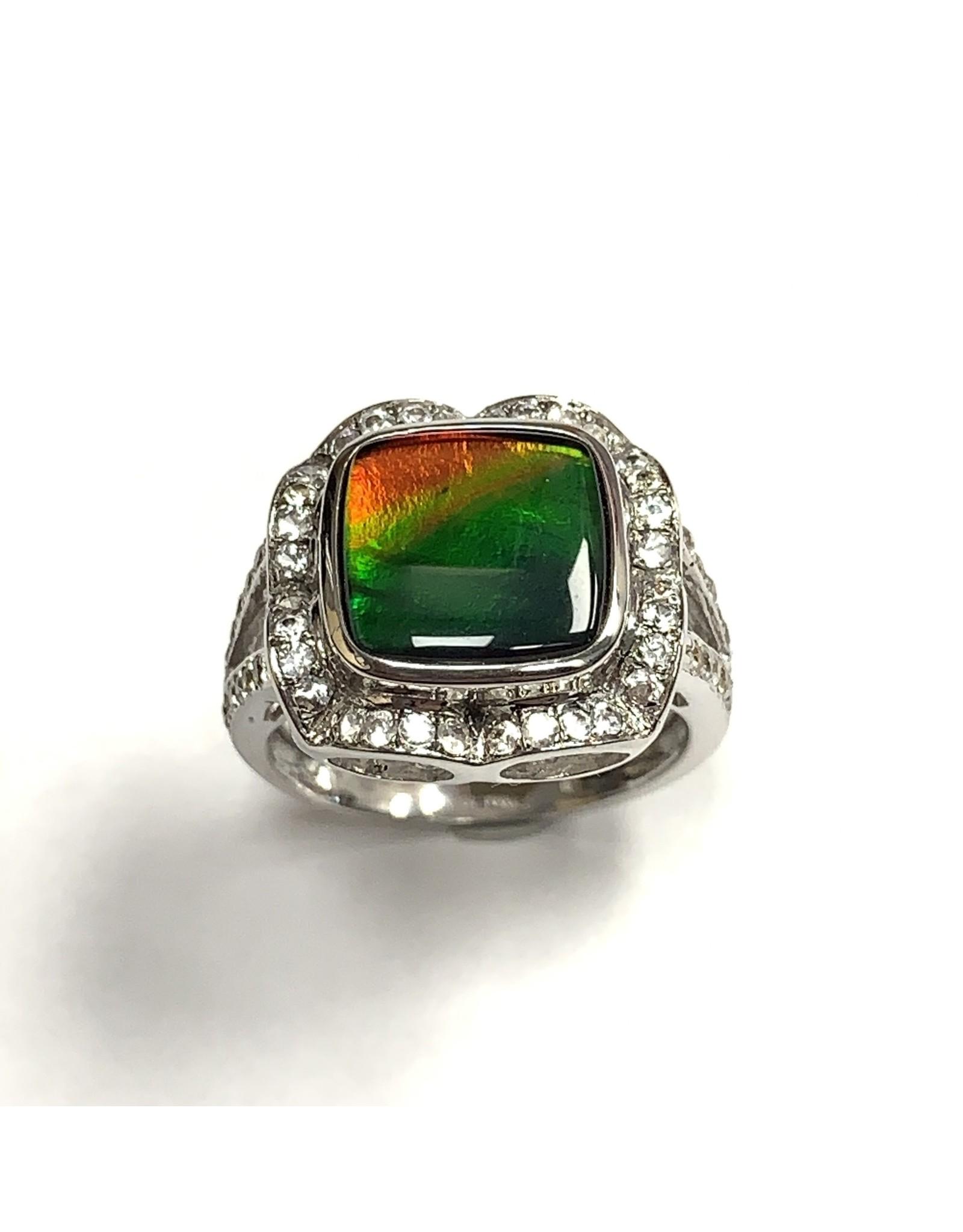 Korite Ammolite & White Sapphire Ring SS