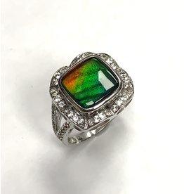 Korite Ammolite & Sapphire Ring