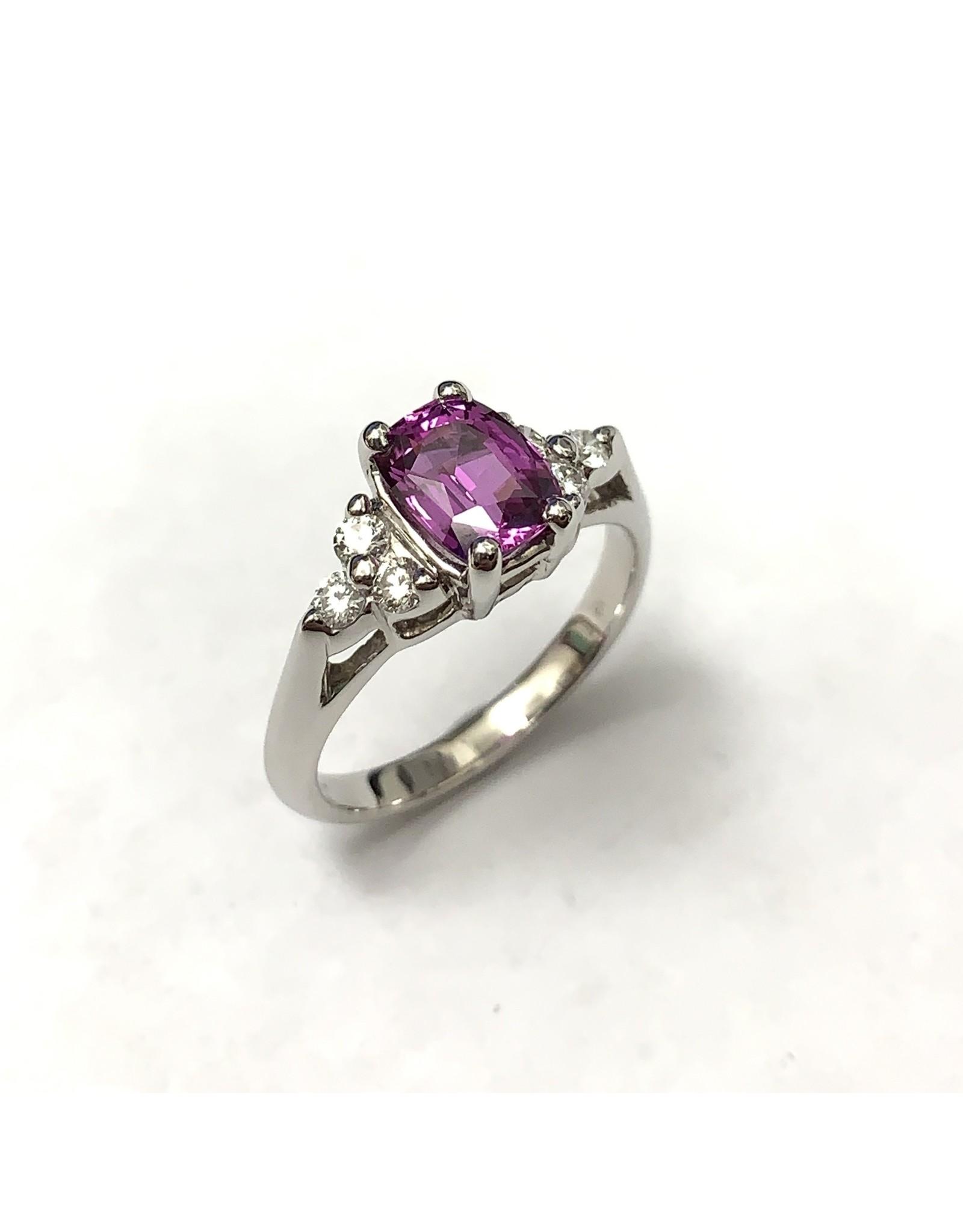 Pink Sapphire & Diamond Ring 14KW
