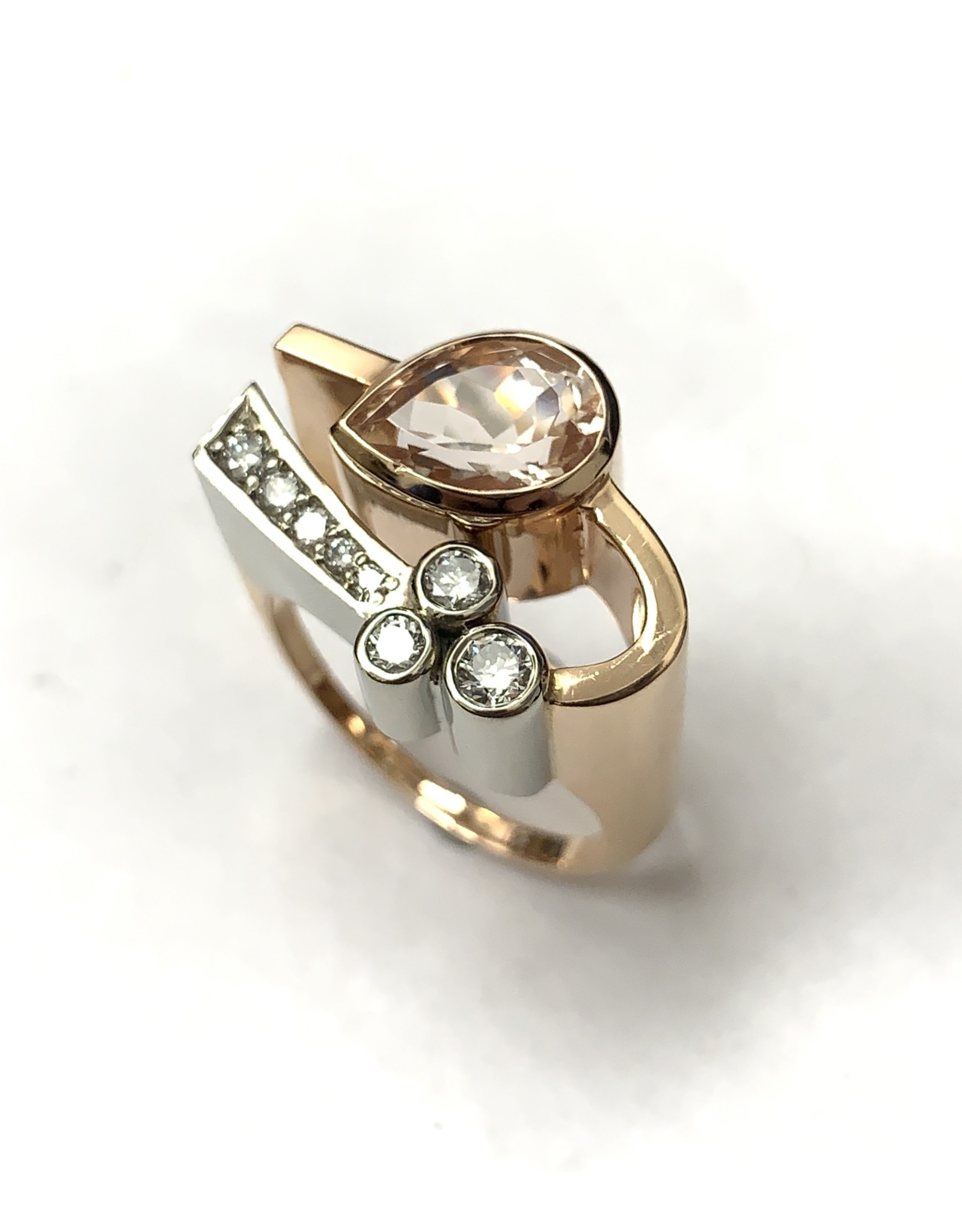 Morganite & Diamond Ring 14KWR