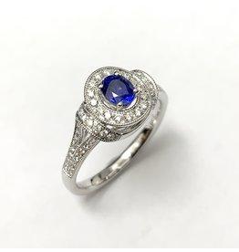 Sapphire & Diamond Fancy Halo Ring