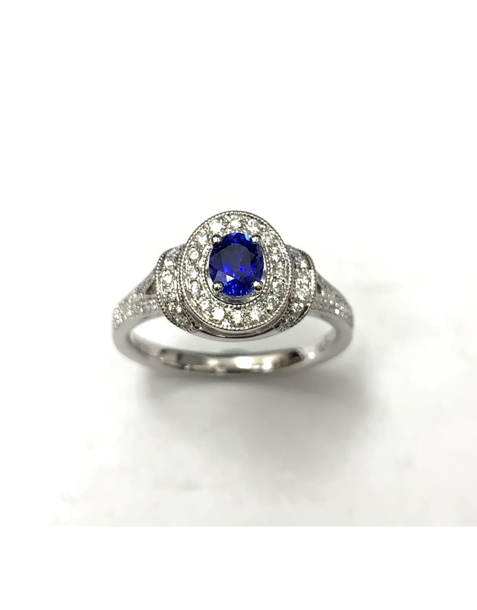 Sapphire & Diamond Fancy Halo Ring 18KW