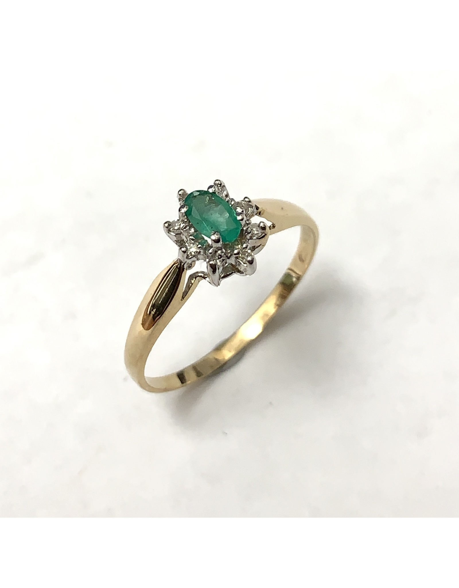 Emerald & Diamond Cluster Ring 10KYW