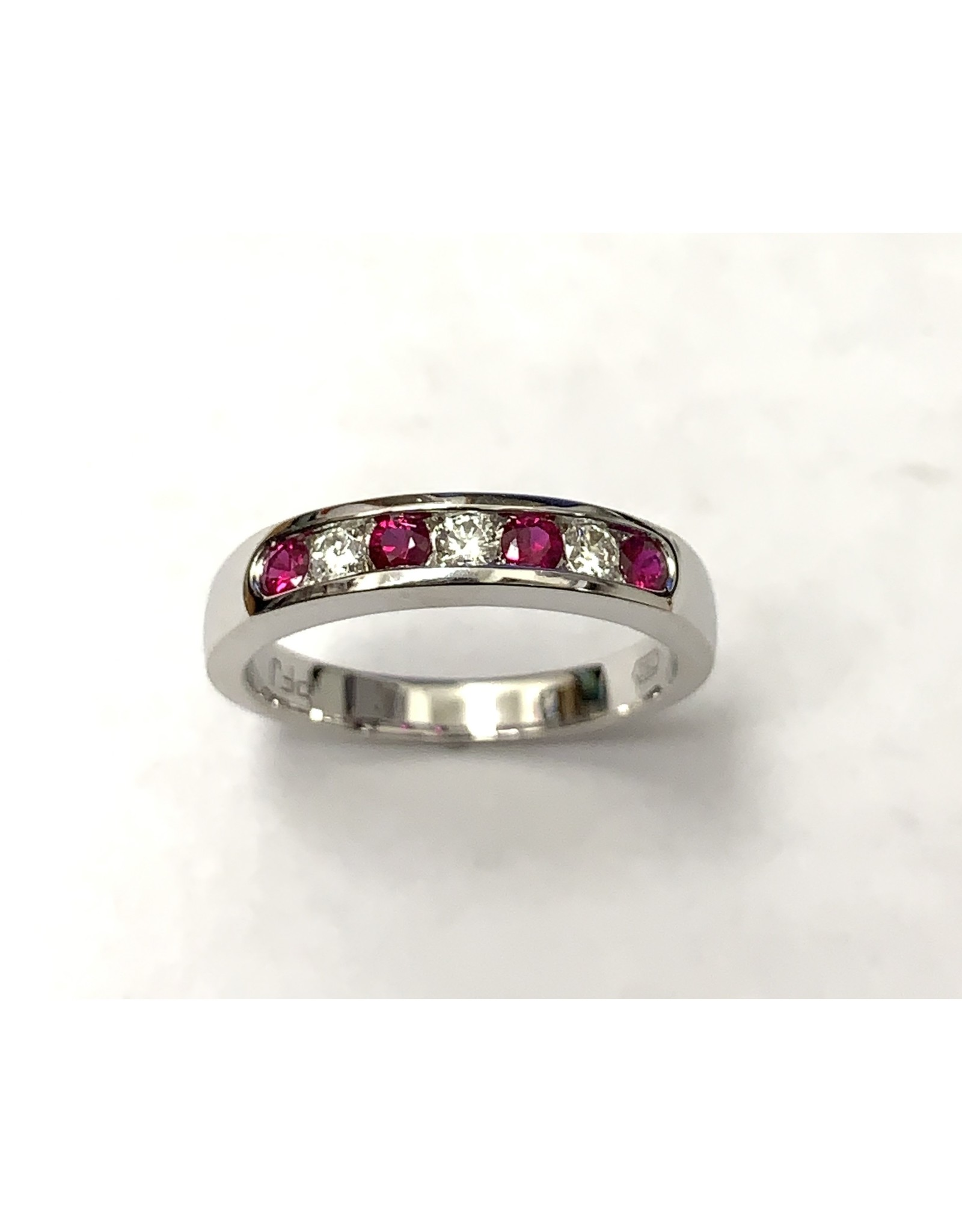 Ruby & Diamond Channel Set Ring 18KW