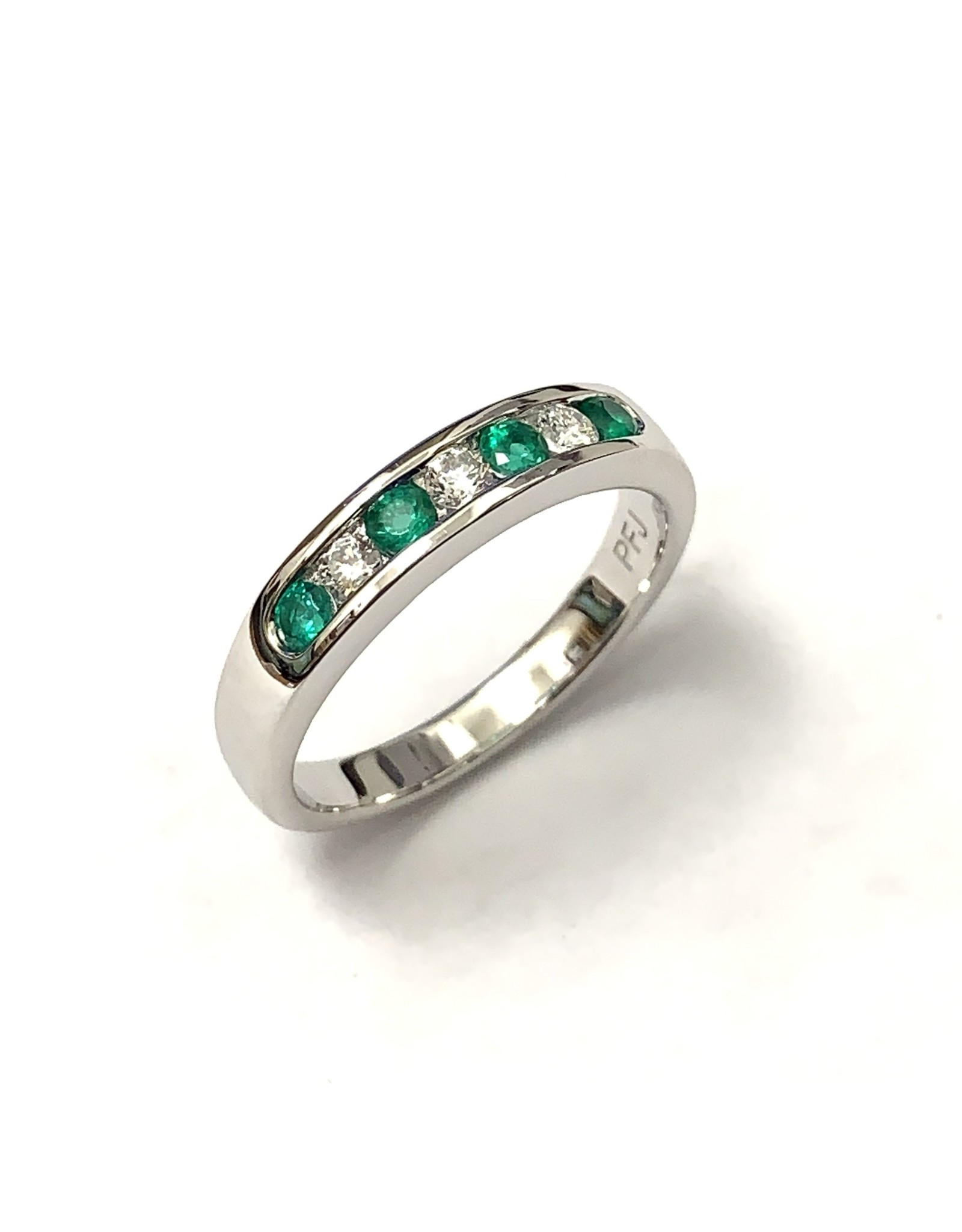 Emerald & Diamond Channel Set Ring 18KW