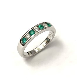 Emerald & Diamond Channel Set Ring