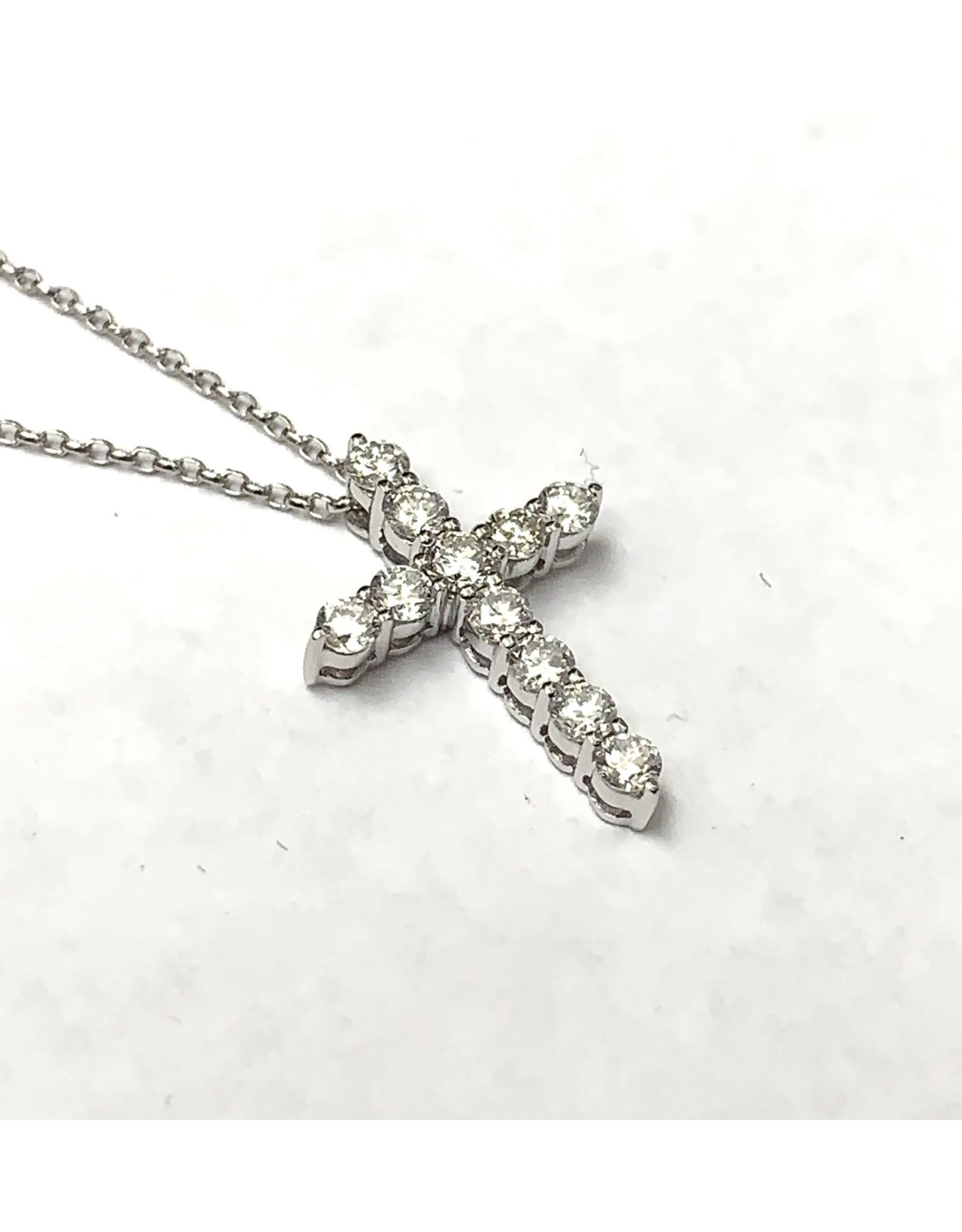 0.50ctw Diamond Cross Pendant 14KW