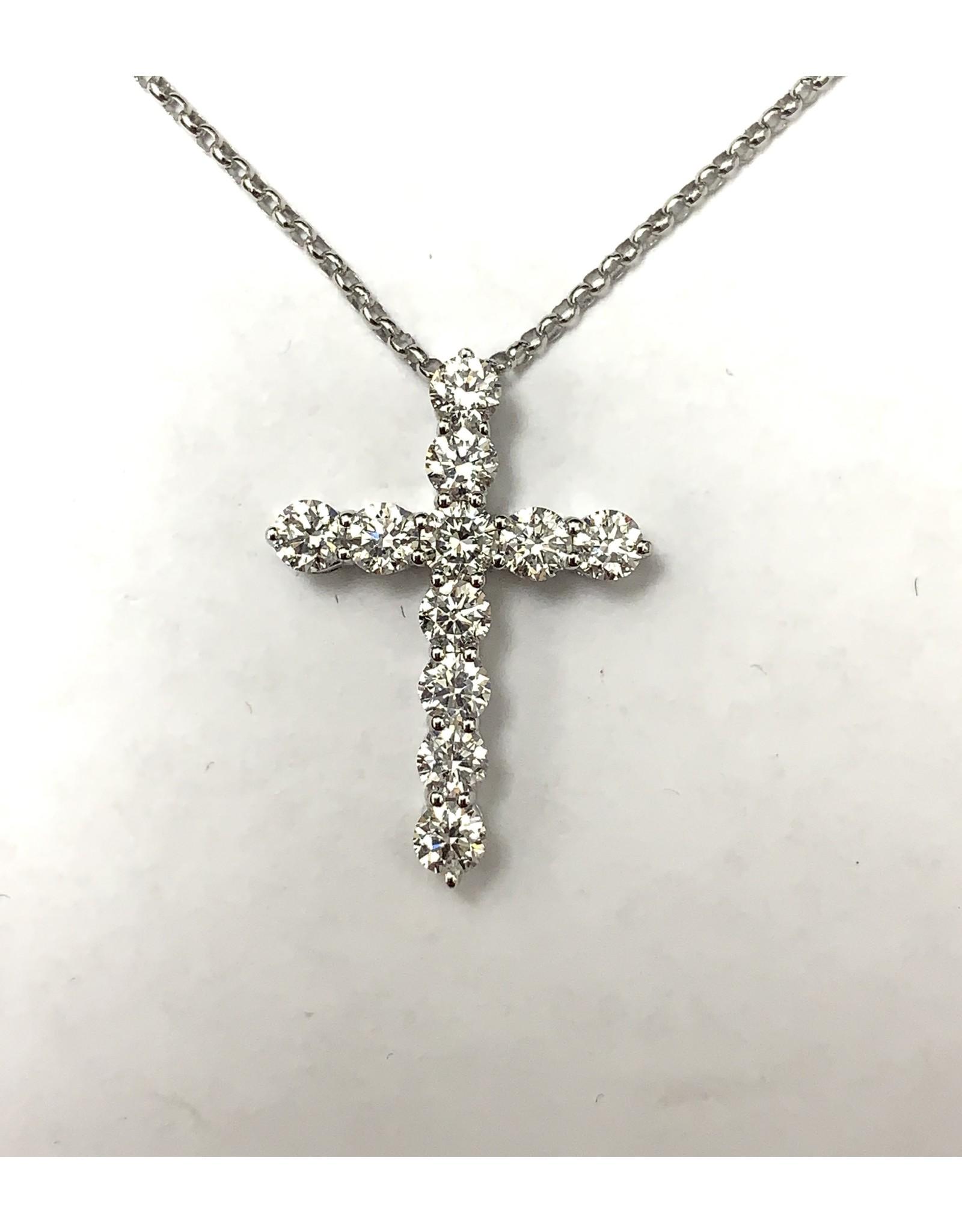 1.00ctw Diamond Cross Pendant 14KW