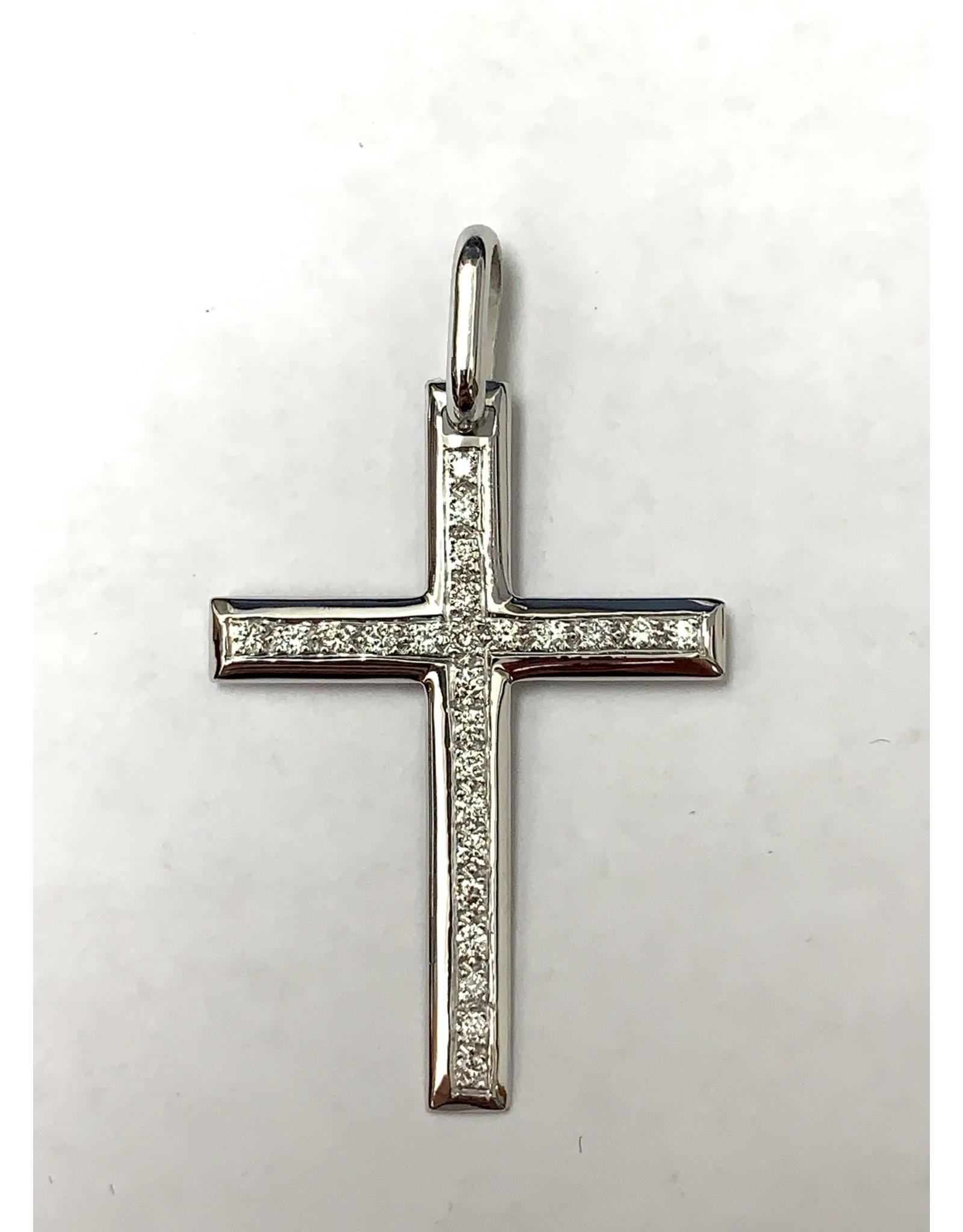 0.25ctw Diamond Cross Pendant 18KW