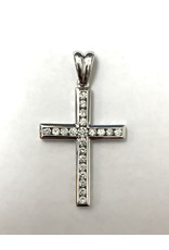 0.50ctw Channel Set Diamond Cross Pendant 10KW