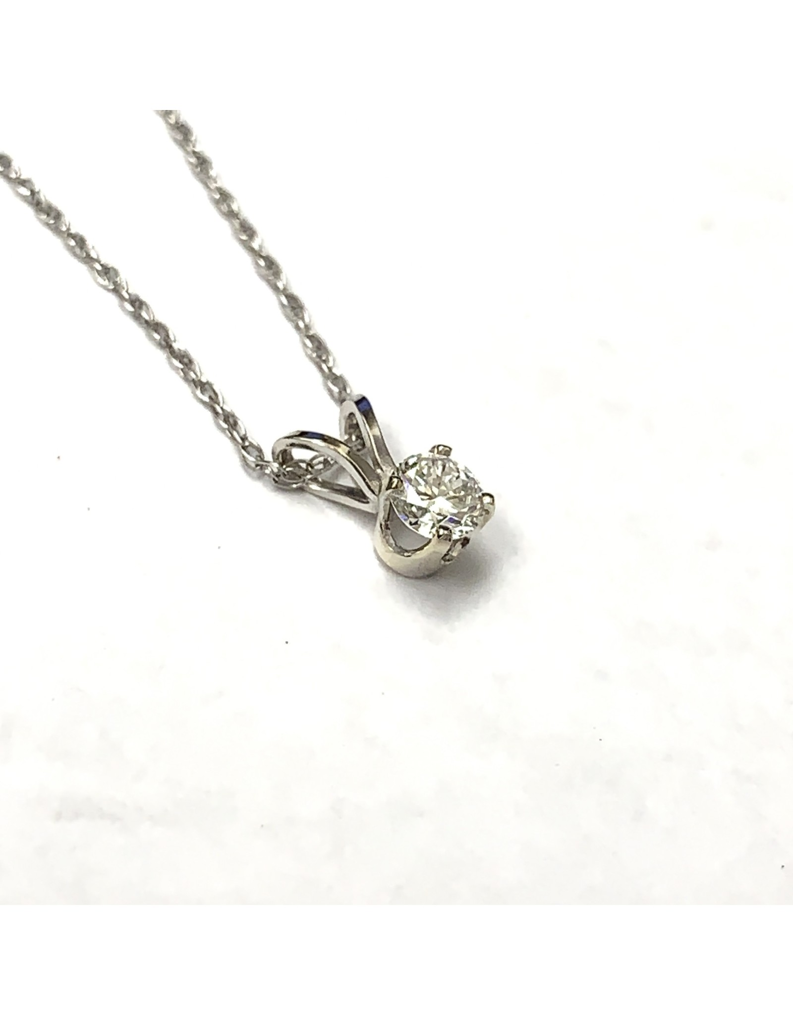 0.25ct Solitaire Diamond Pendant 14KW