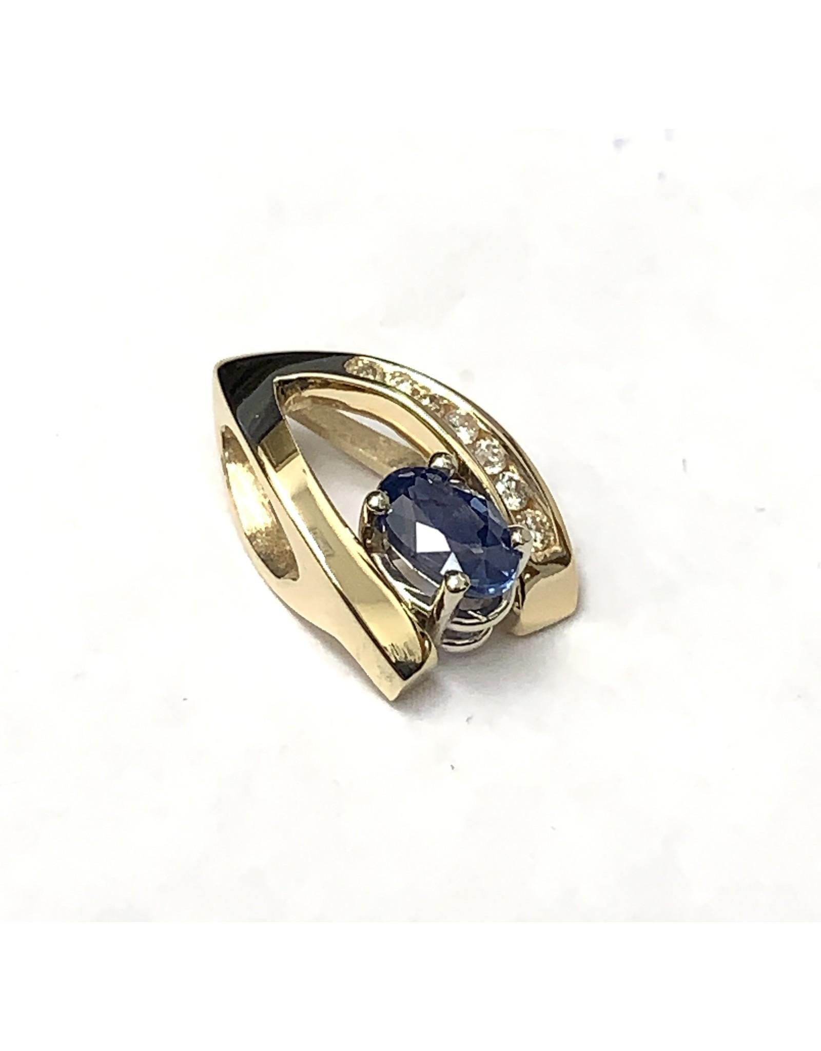 0.89ct Sapphire & Diamond Pendant 14KYW