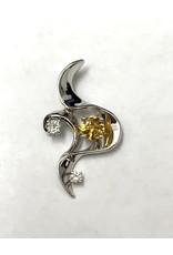 Custom 0.56ct Yellow Sapphire & Diamond Pendant 14KW