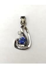 Custom Sapphire & Diamond Pendant 14KW