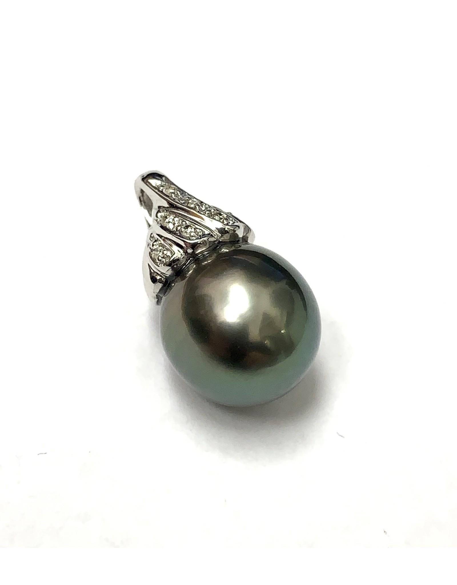 Tahitian Pearl & Diamond Pendant 14KW