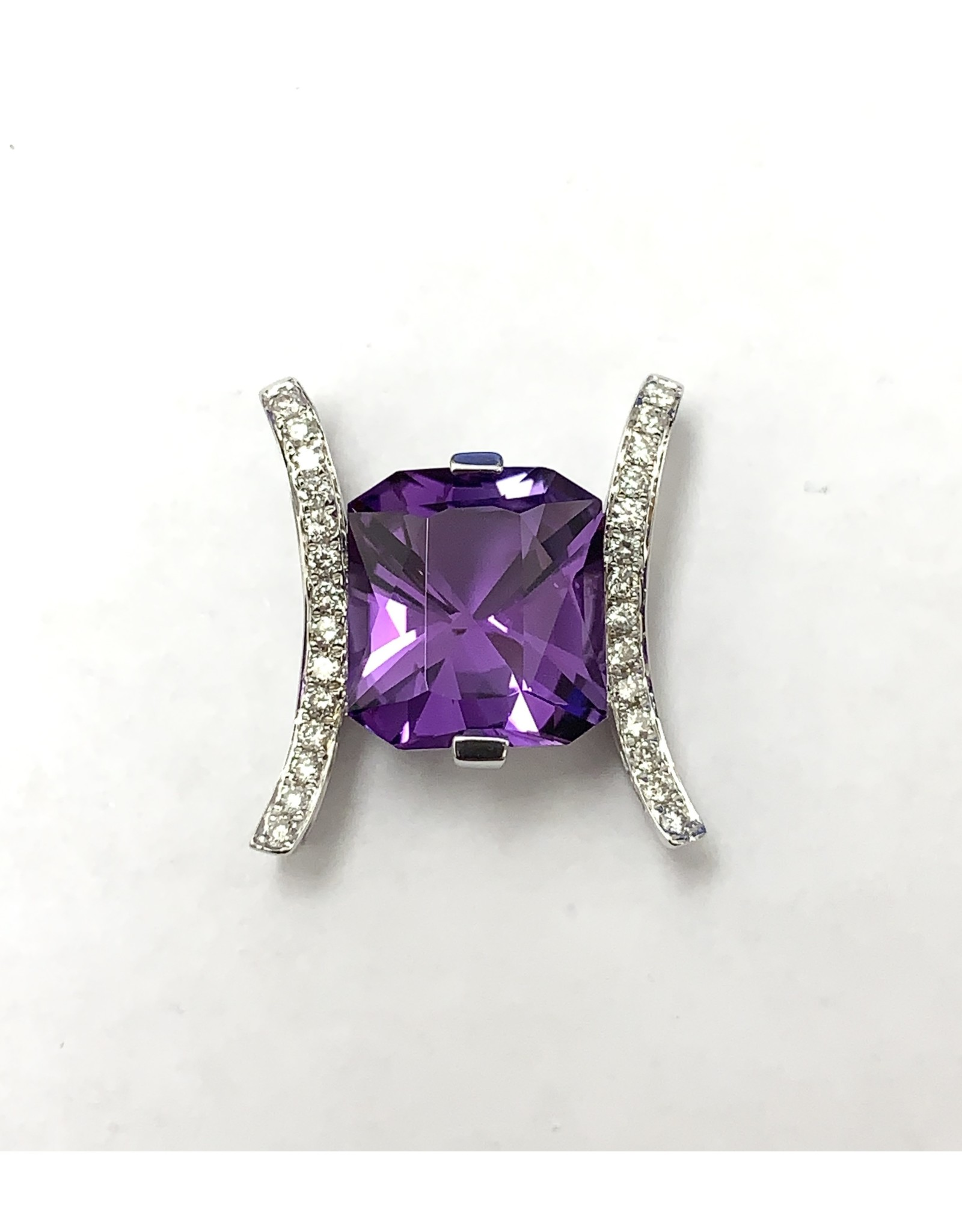 3.24ct Amethyst & Diamond Pendant 14KW
