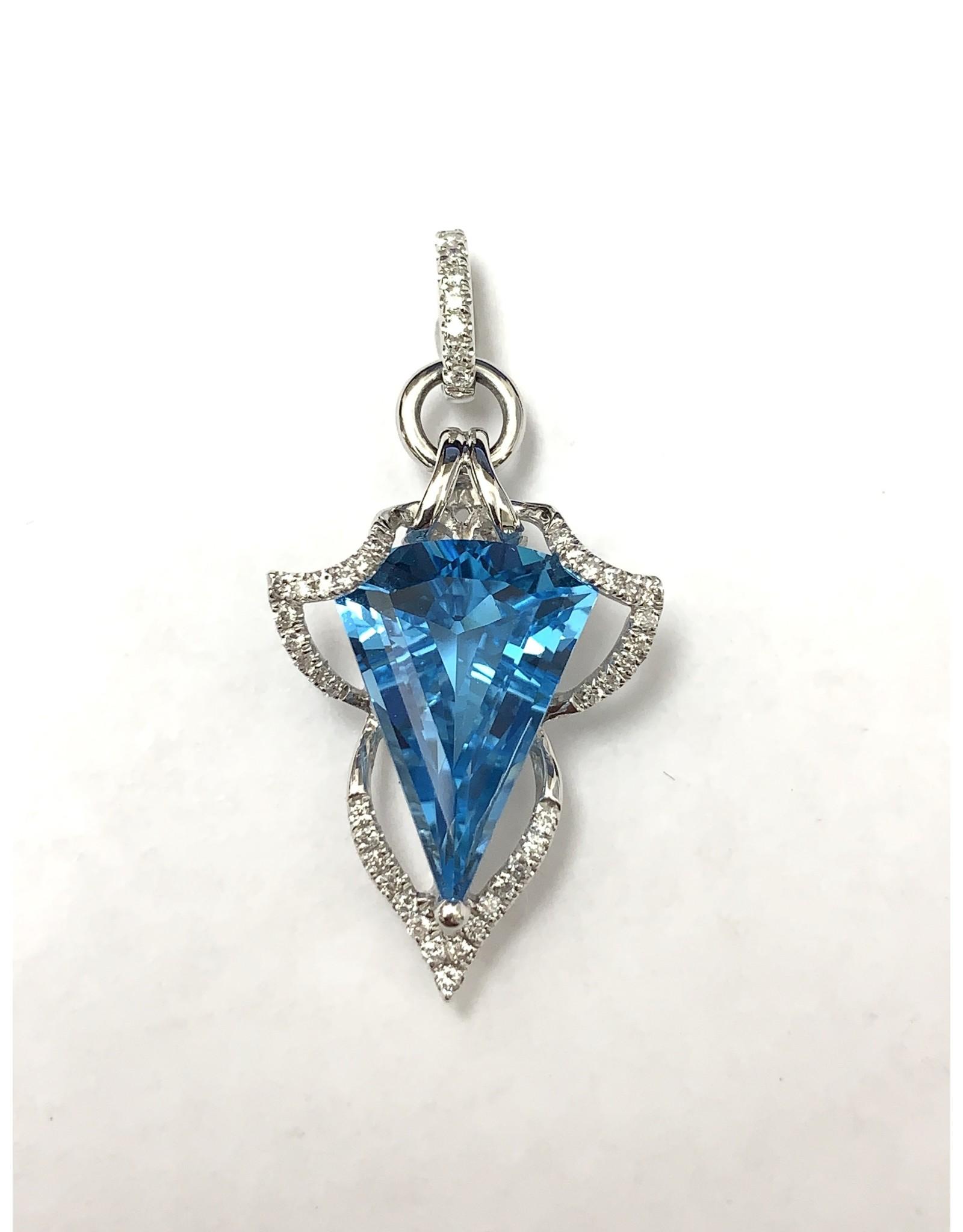 8.50ct Blue Topaz & Diamond Pendant 14KW