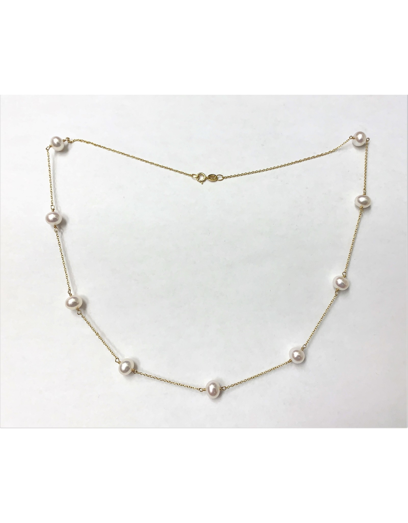 Freshwater Pearl Station Necklace 14KY
