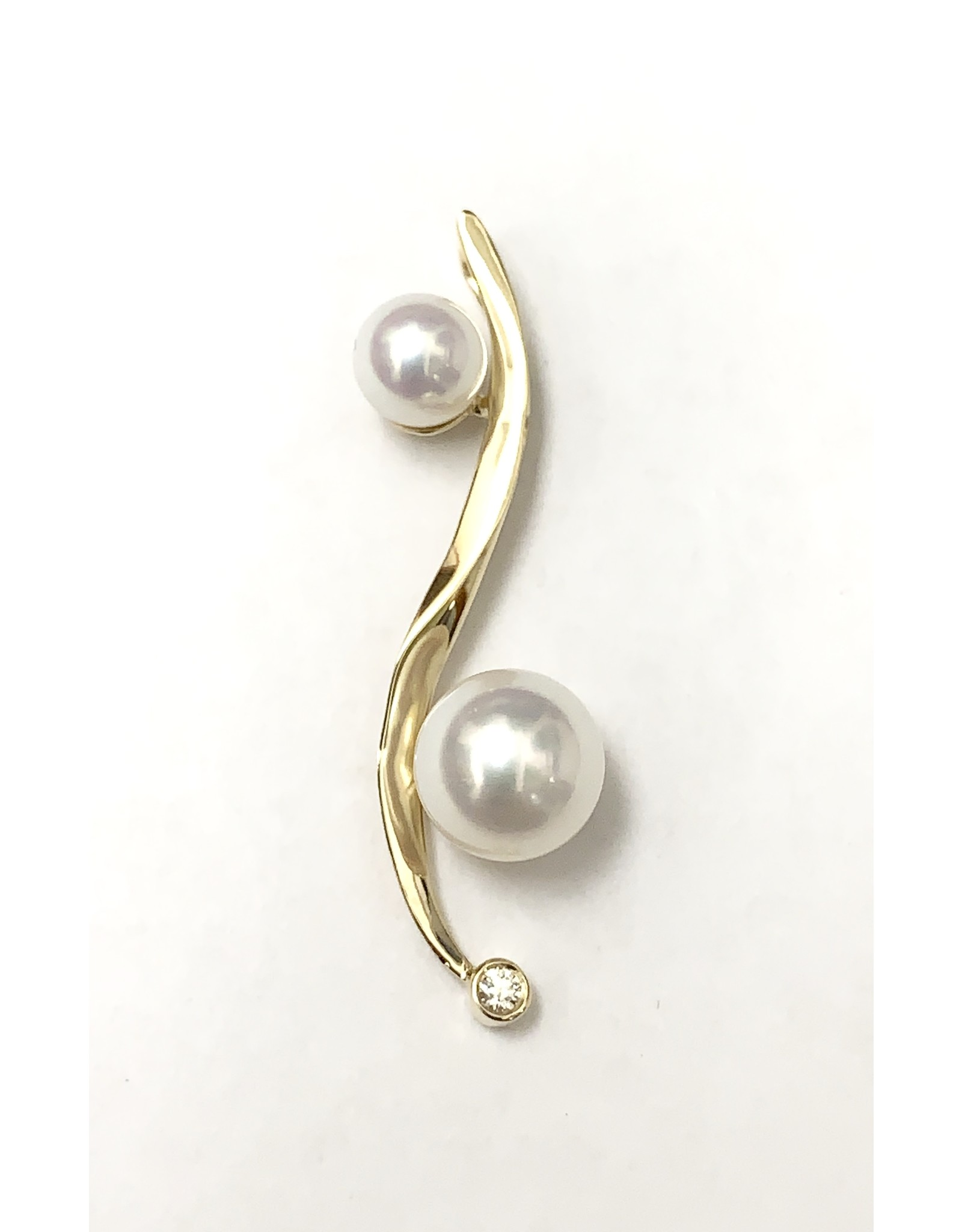 Double Pearl & Diamond Pendant 14KY